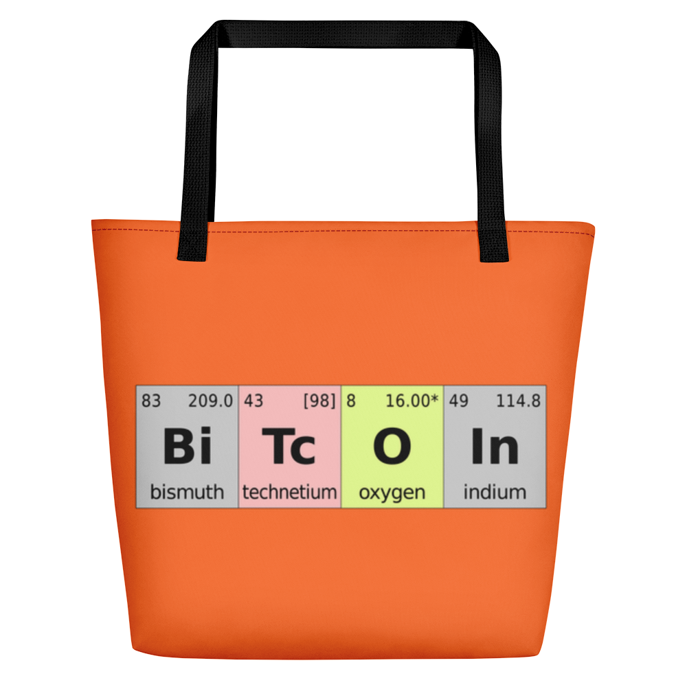 Bitcoin Periodic Table Orange Beach Bag Black  - zeroconfs