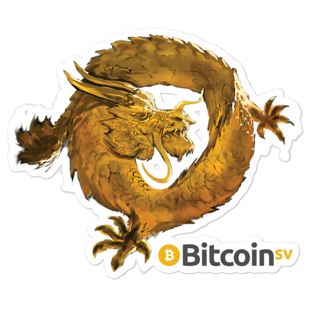 Bitcoin SV Woken Dragon Bubble-Free Vinyl Stickers 5.5x5.5  - zeroconfs