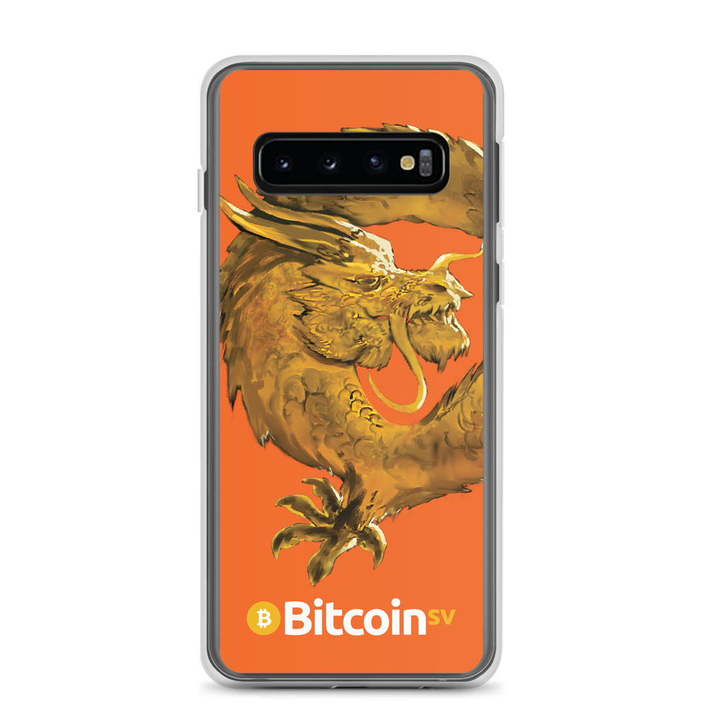 Bitcoin SV Woken Dragon Samsung Case Orange Samsung Galaxy S10  - zeroconfs