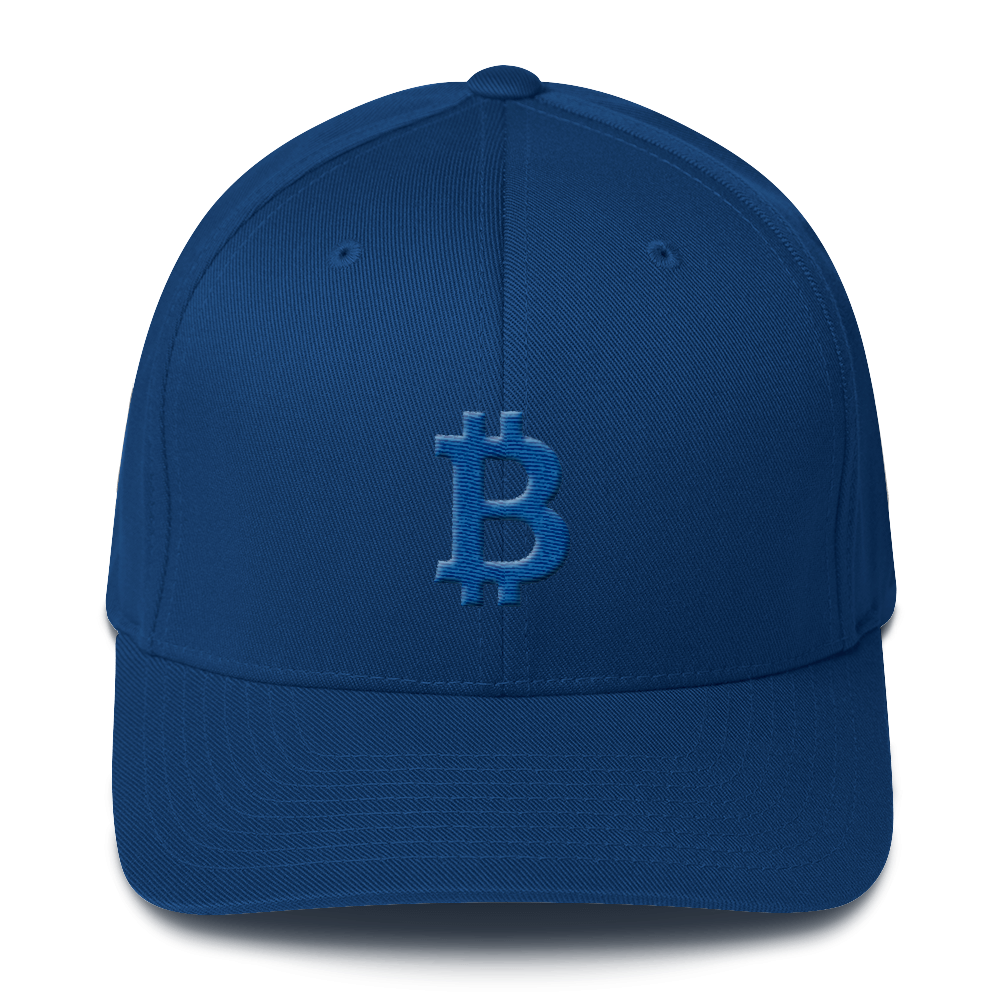 Bitcoin B Flexfit Cap Blue Royal Blue S/M - zeroconfs