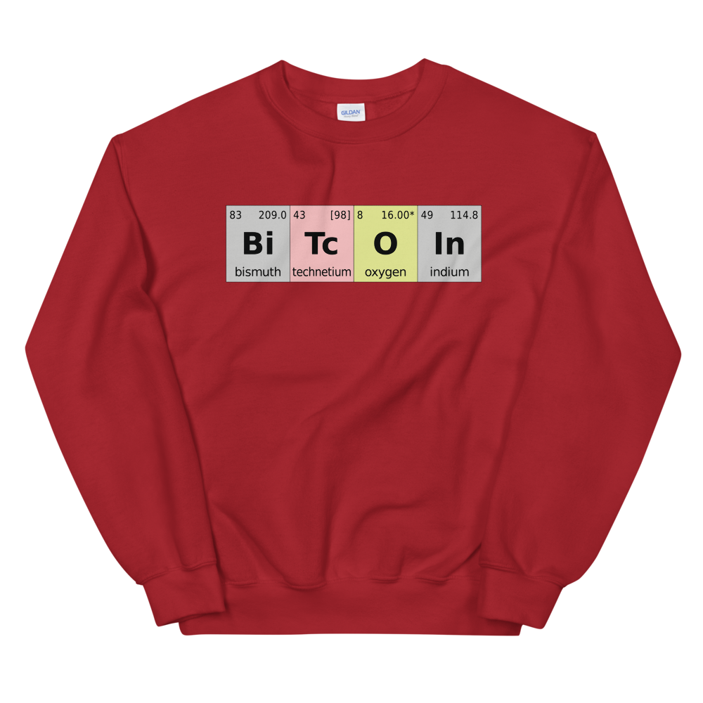 Bitcoin Periodic Table Sweatshirt Red S - zeroconfs