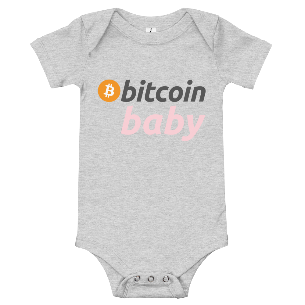 Bitcoin Baby Pink Logo Bodysuit Athletic Heather 3-6m - zeroconfs