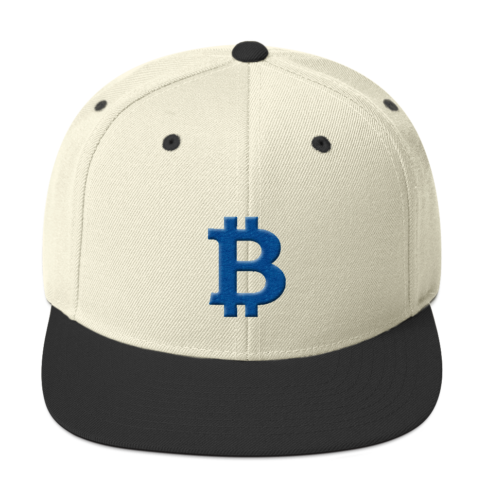 Bitcoin B Snapback Hat Blue Natural/ Black  - zeroconfs