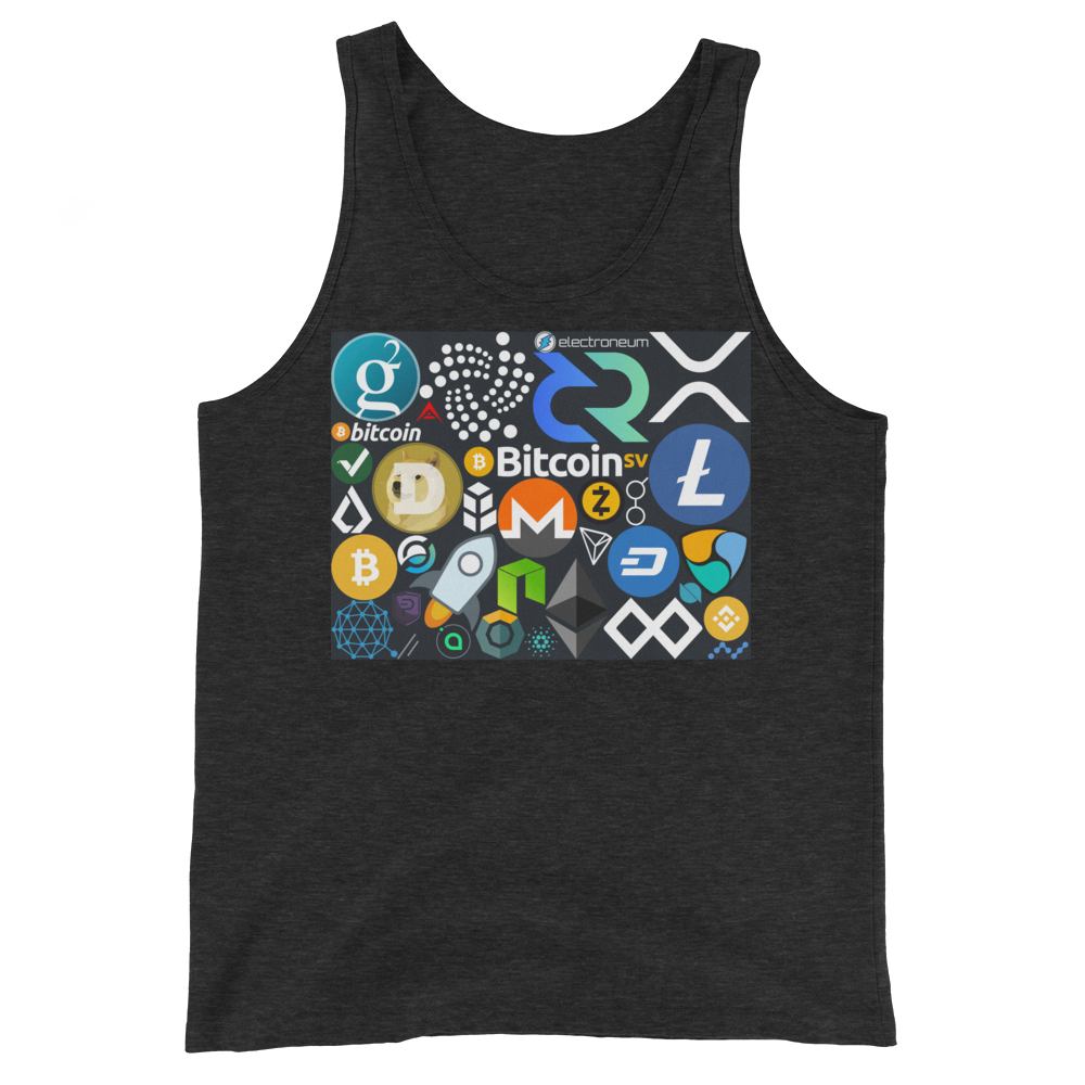 Crypto Calling Tank Top Charcoal-Black Triblend XS - zeroconfs