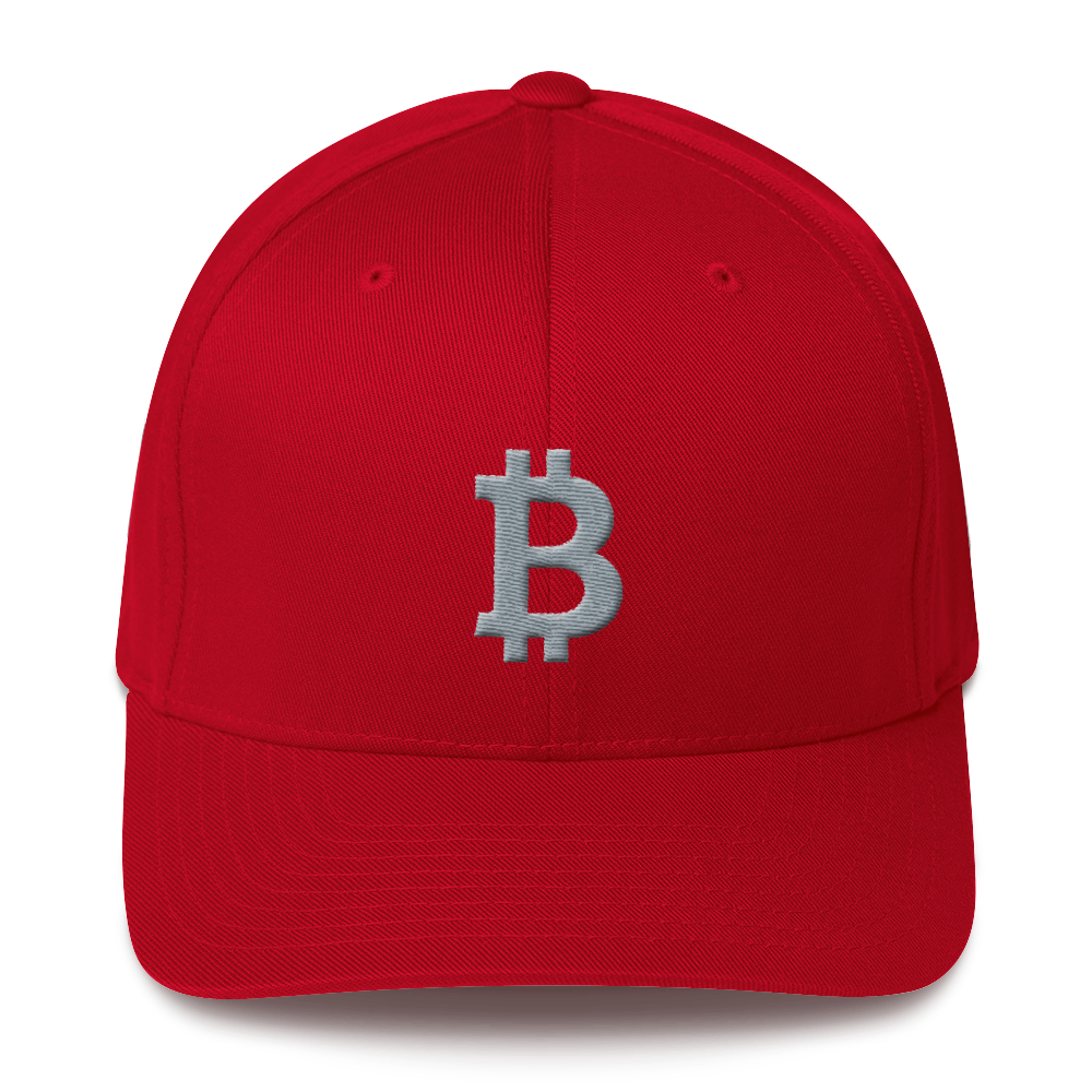 Bitcoin B Flexfit Cap Gray Red S/M - zeroconfs