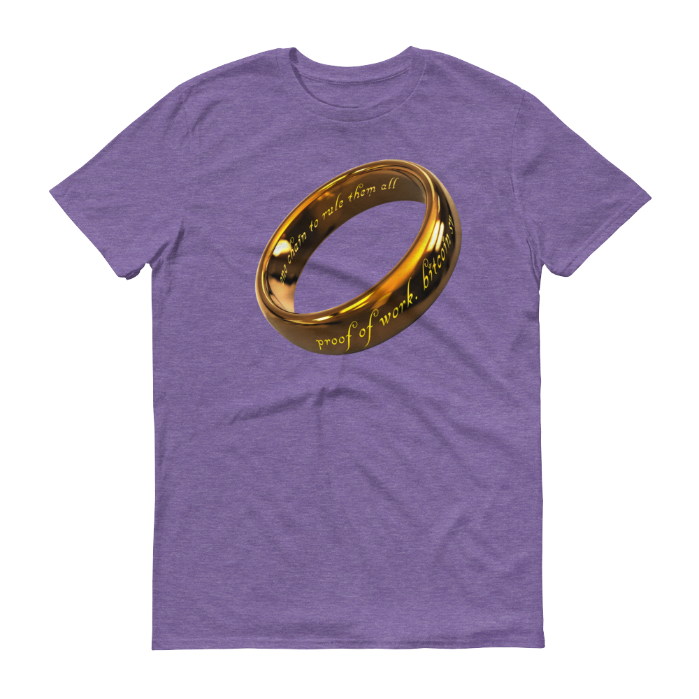 One Chain To Rule Them All Bitcoin SV Short-Sleeve T-Shirt Heather Purple S - zeroconfs