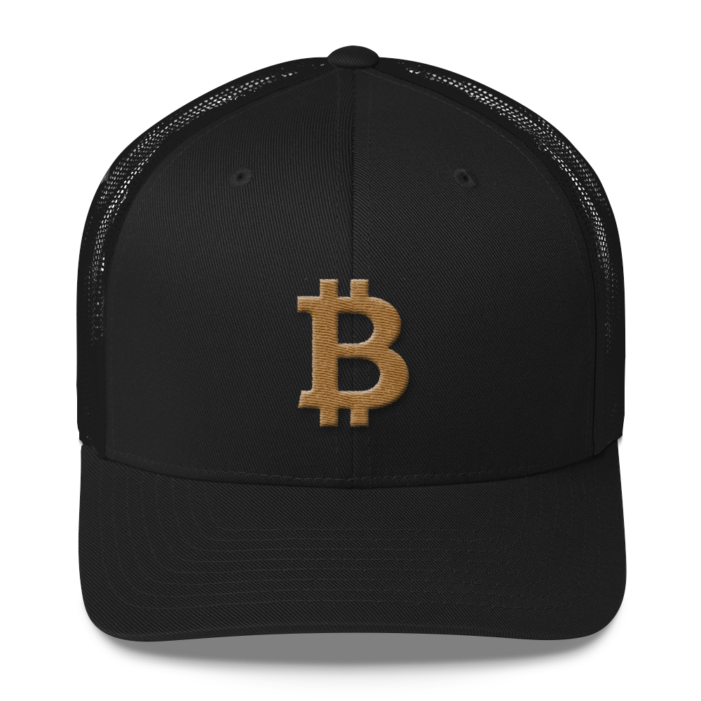 Bitcoin B Trucker Cap Gold Black  - zeroconfs