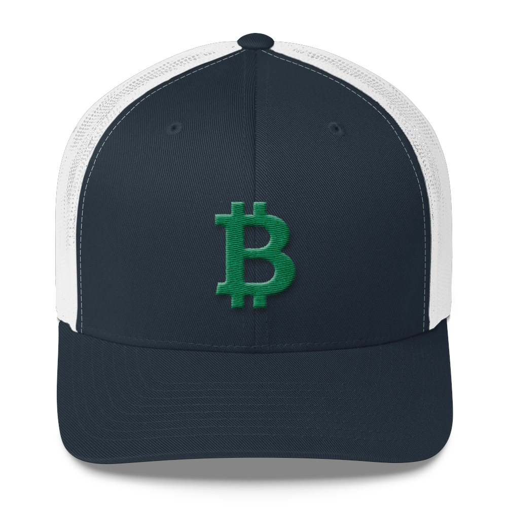 Bitcoin B Trucker Cap Green Navy/ White  - zeroconfs