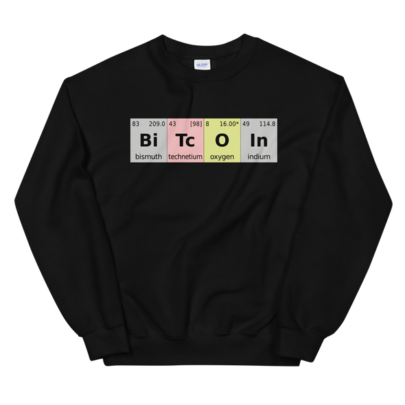 Bitcoin Periodic Table Sweatshirt Black S - zeroconfs