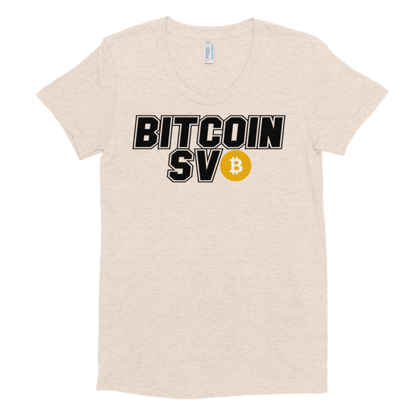 Bitcoin SV Sports Women's Crew Neck T-Shirt Tri-Oatmeal S - zeroconfs