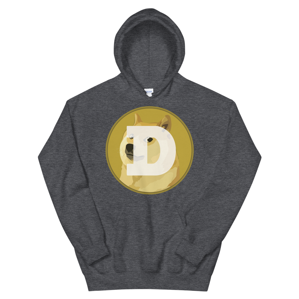 Dogecoin Hooded Sweatshirt Dark Heather S - zeroconfs