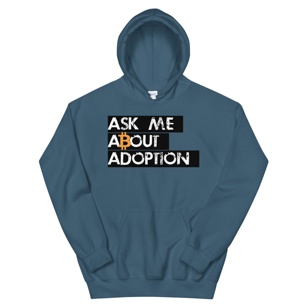 Ask Me About Adoption Bitcoin Hooded Sweatshirt Indigo Blue S - zeroconfs