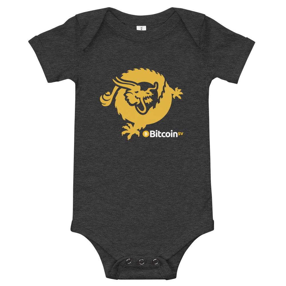 Bitcoin SV Dragon Baby Bodysuit Dark Grey Heather 3-6m - zeroconfs