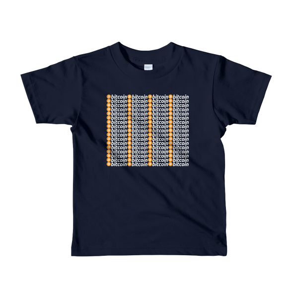 Bitcoin Pattern Short Sleeve Kids T-Shirt Navy 2yrs - zeroconfs