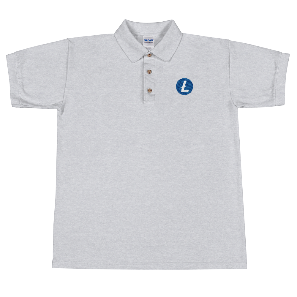Litecoin Embroidered Polo Shirt Sport Grey S - zeroconfs