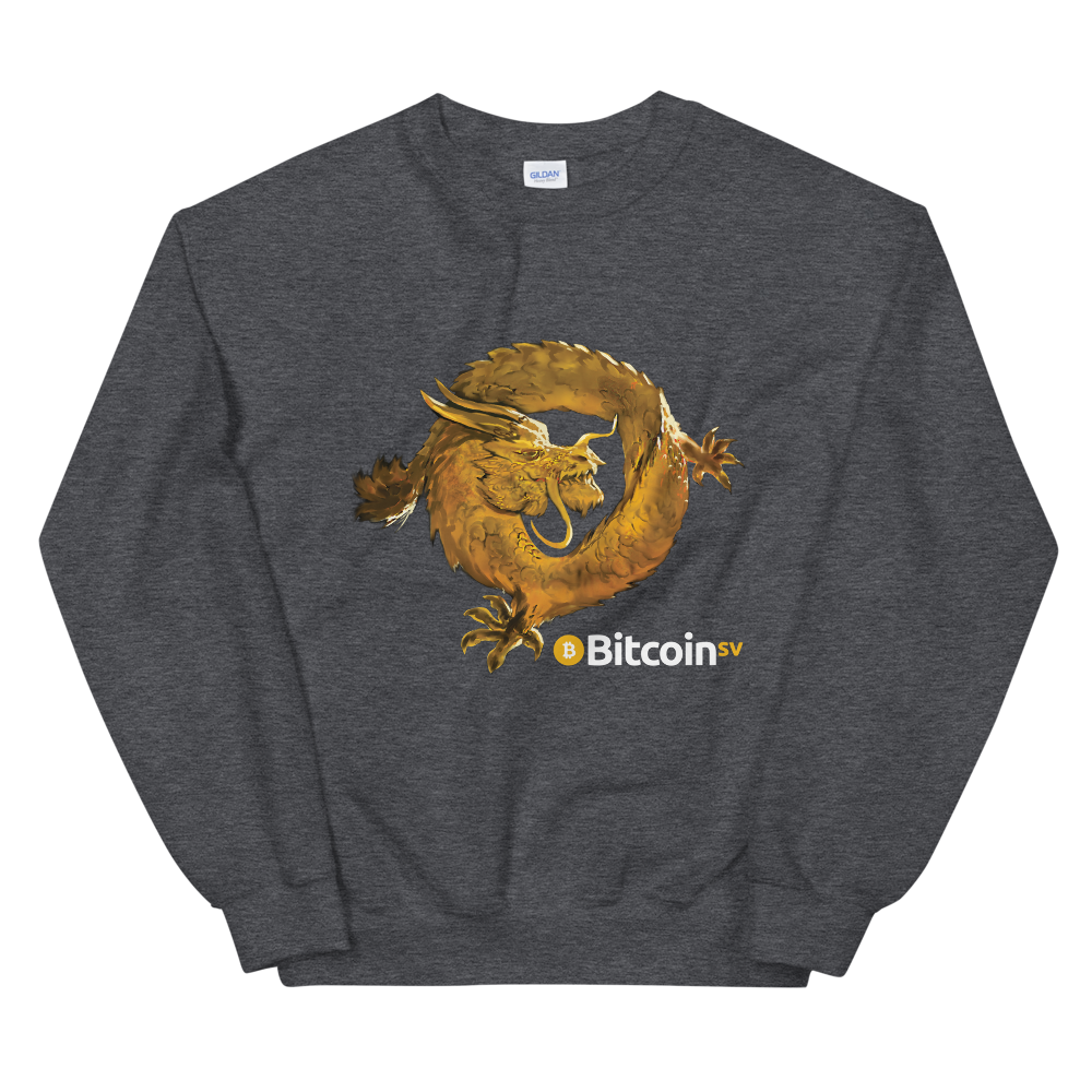Bitcoin SV Woken Dragon Women's Sweatshirt Dark Heather S - zeroconfs