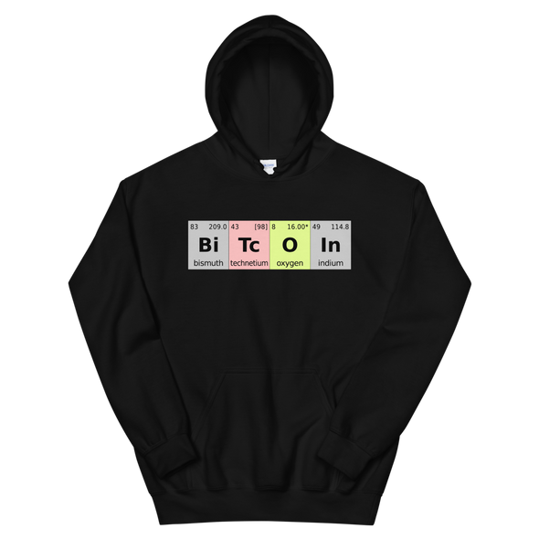 Bitcoin Periodic Table Hooded Sweatshirt Black S - zeroconfs