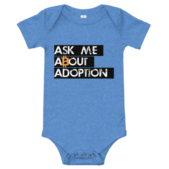 Ask Me About Adoption Bitcoin Baby Bodysuit Heather Columbia Blue 3-6m - zeroconfs