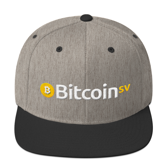 Bitcoin SV Snapback Hat Heather/Black  - zeroconfs