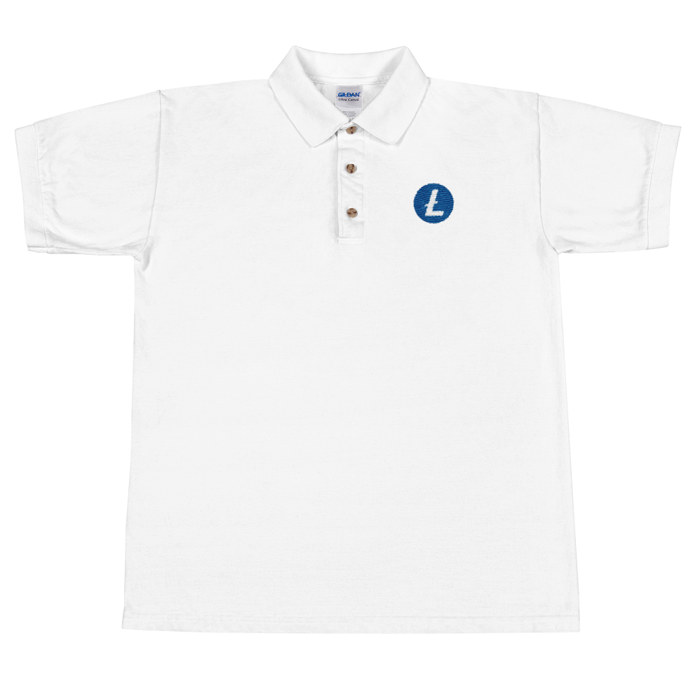 Litecoin Embroidered Polo Shirt White S - zeroconfs