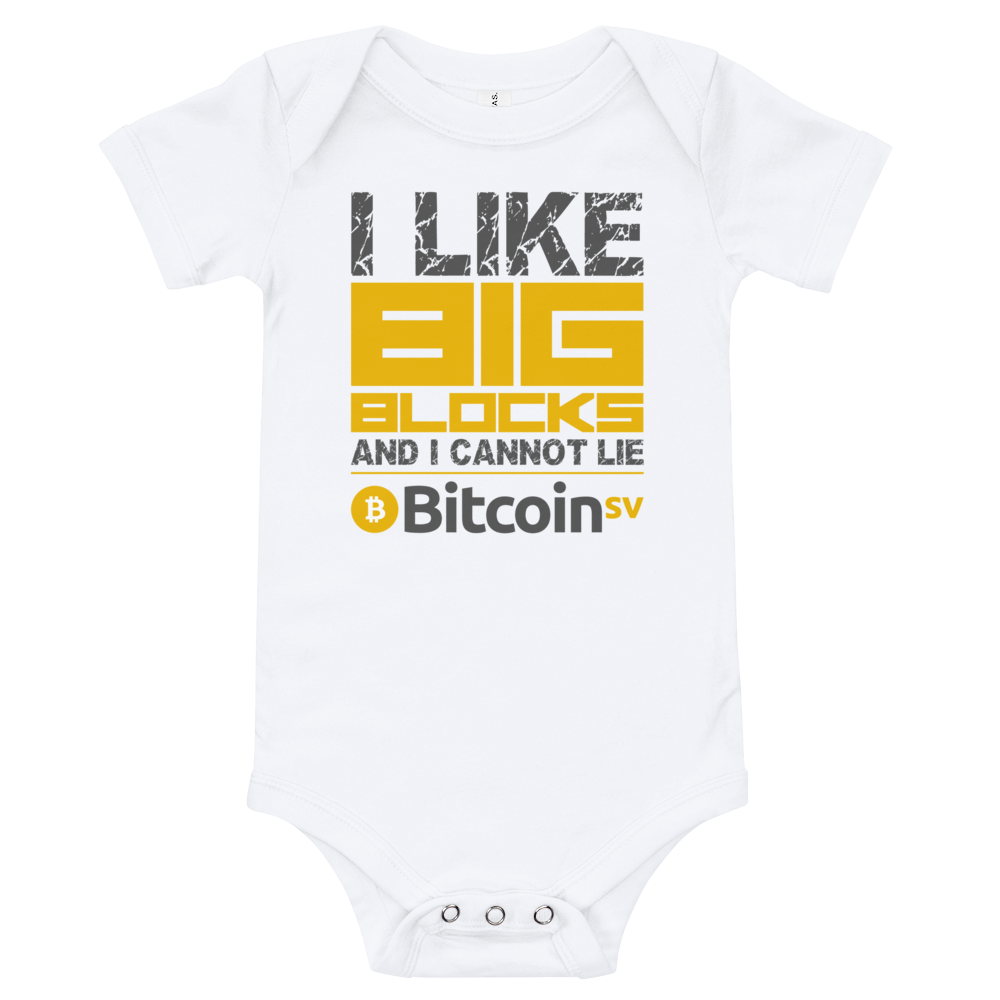 I Like Big Blocks Bitcoin SV Baby Bodysuit White 3-6m - zeroconfs