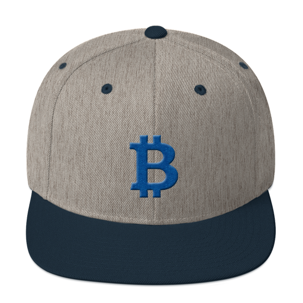 Bitcoin B Snapback Hat Blue Heather Grey/ Navy  - zeroconfs