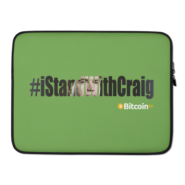 #IStandWithCraig Bitcoin SV Laptop Sleeve Green 15 in  - zeroconfs