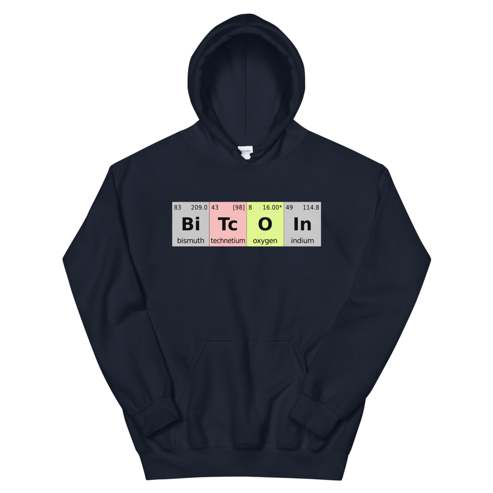 Bitcoin Periodic Table Hooded Sweatshirt Navy S - zeroconfs