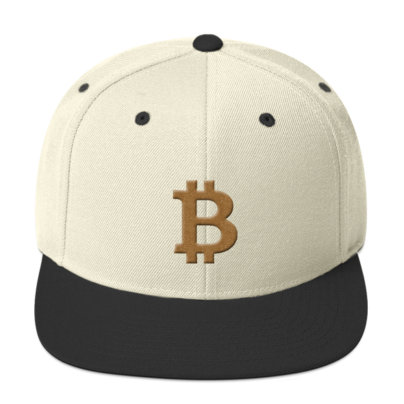 Bitcoin B Snapback Hat Gold Natural/ Black  - zeroconfs