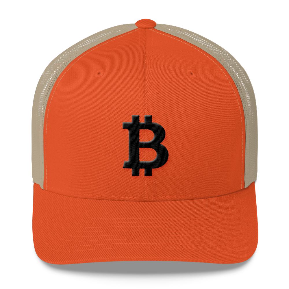 Bitcoin Blacknet SE Trucker Cap Rustic Orange/ Khaki  - zeroconfs