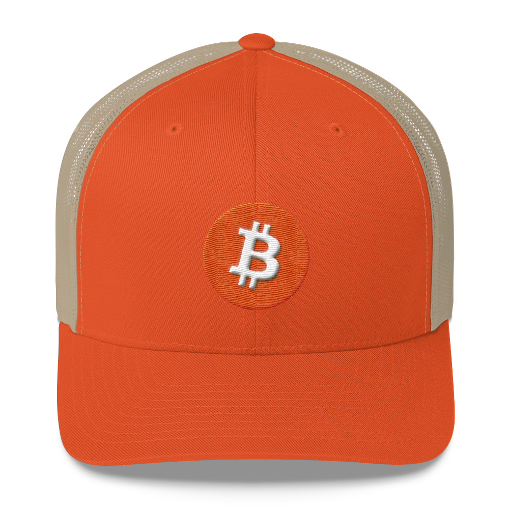 Bitcoin Core Trucker Cap Rustic Orange/ Khaki  - zeroconfs