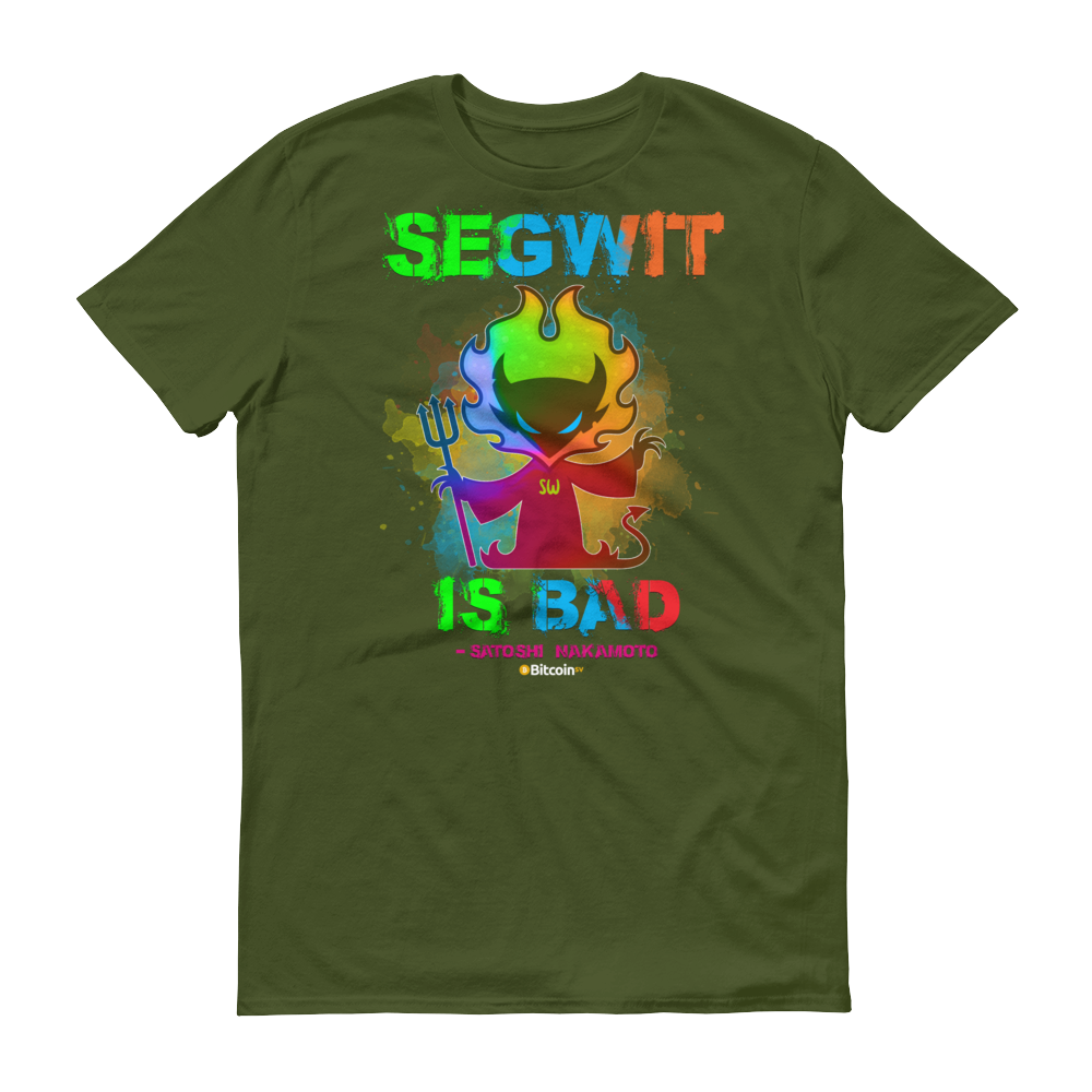 SegWit is Bad Bitcoin SV Short-Sleeve T-Shirt City Green S - zeroconfs
