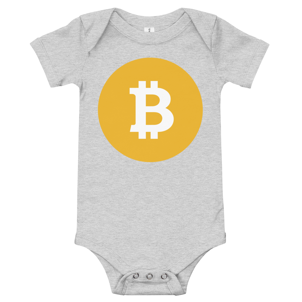 Bitcoin SV Logo Baby Bodysuit Athletic Heather 3-6m - zeroconfs