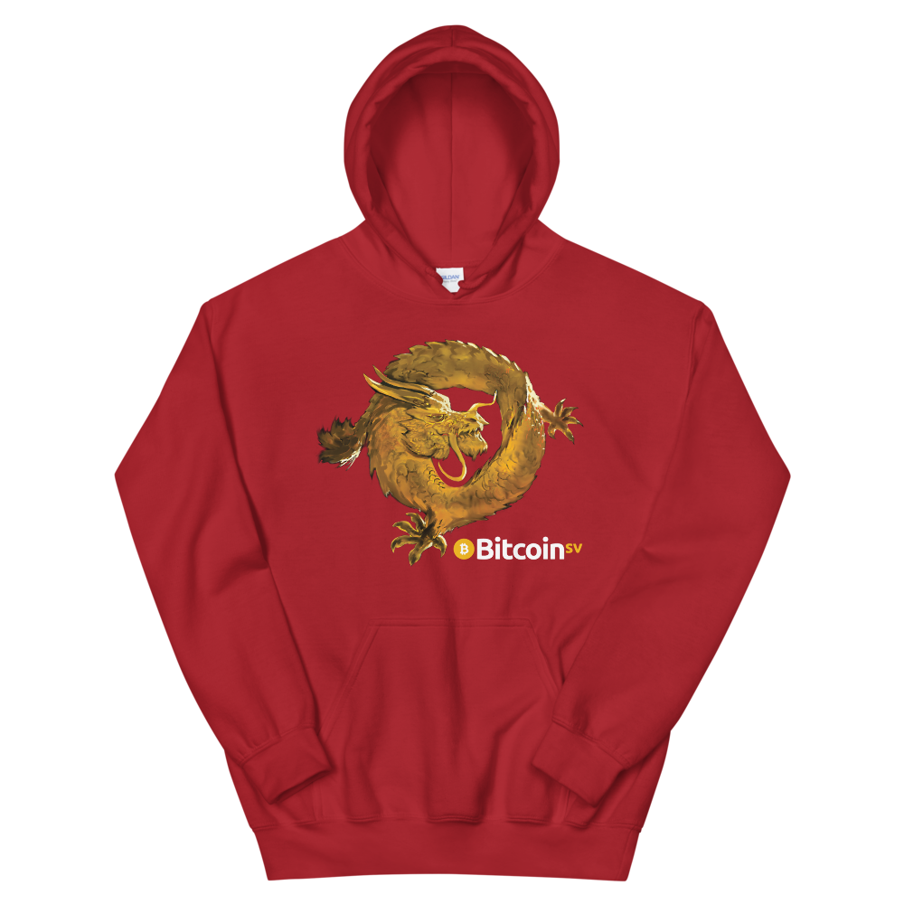 Bitcoin SV Woken Dragon Women's Hooded Sweatshirt Red S - zeroconfs