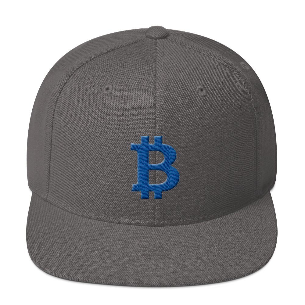 Bitcoin B Snapback Hat Blue Dark Grey  - zeroconfs