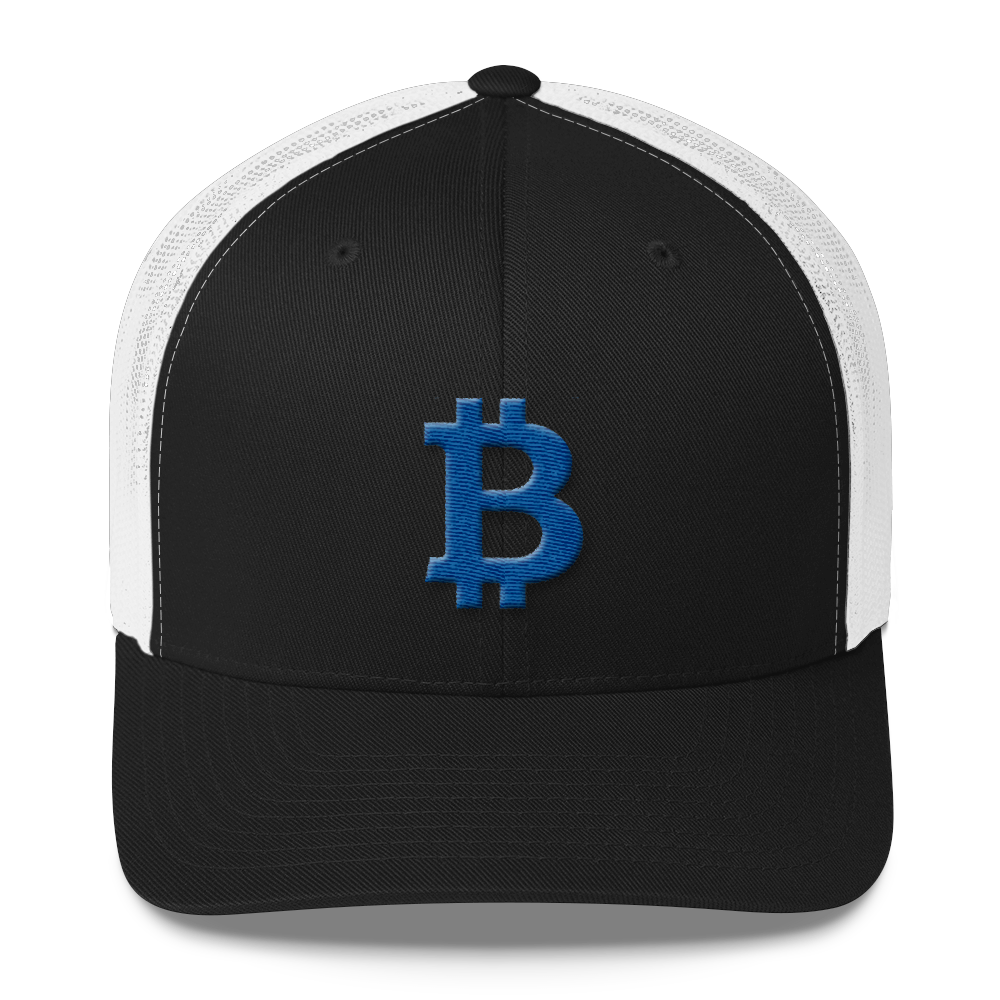 Bitcoin B Trucker Cap Blue Black/ White  - zeroconfs