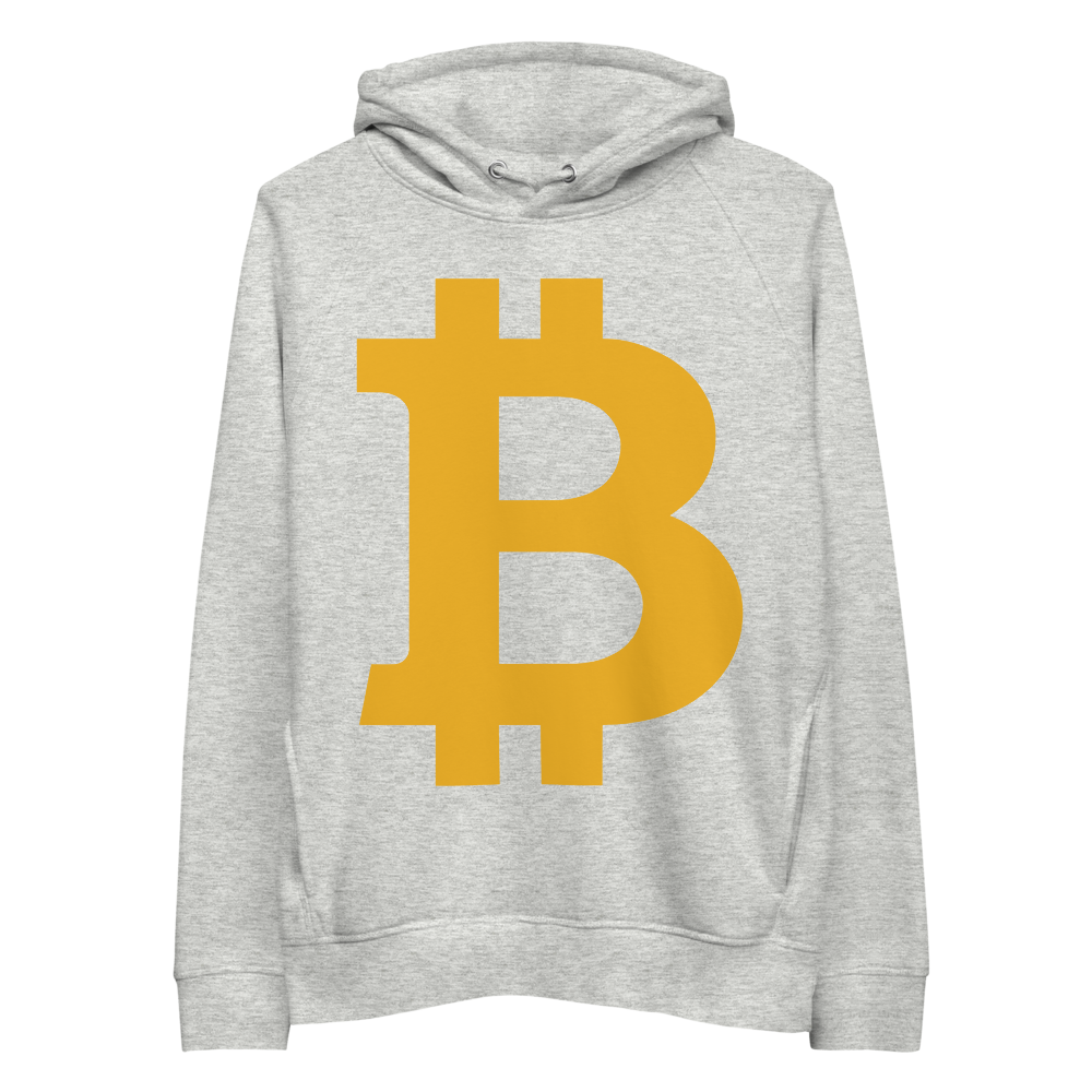 Bitcoin B Premium Eco Hoodie Heather Grey S - zeroconfs