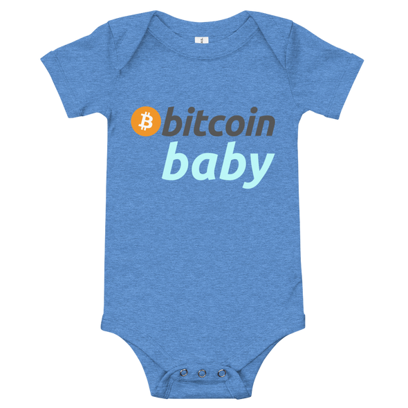 Bitcoin Baby Blue Logo Bodysuit Heather Columbia Blue 3-6m - zeroconfs
