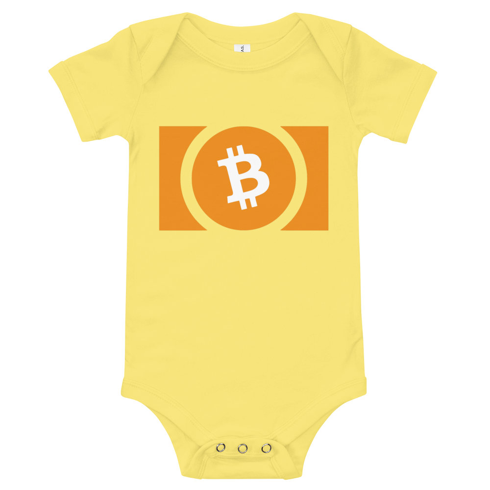 Bitcoin Cash Baby Bodysuit Yellow 3-6m - zeroconfs