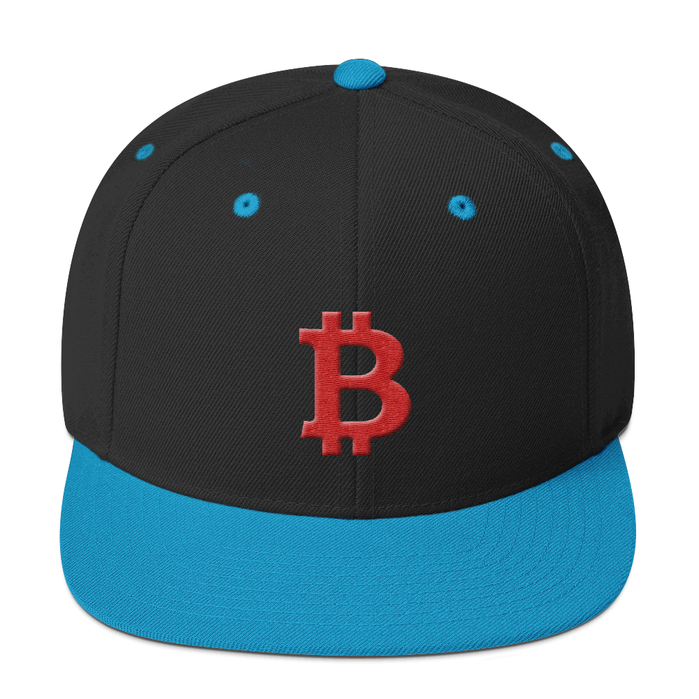 Bitcoin B Snapback Hat Red Black/ Teal  - zeroconfs