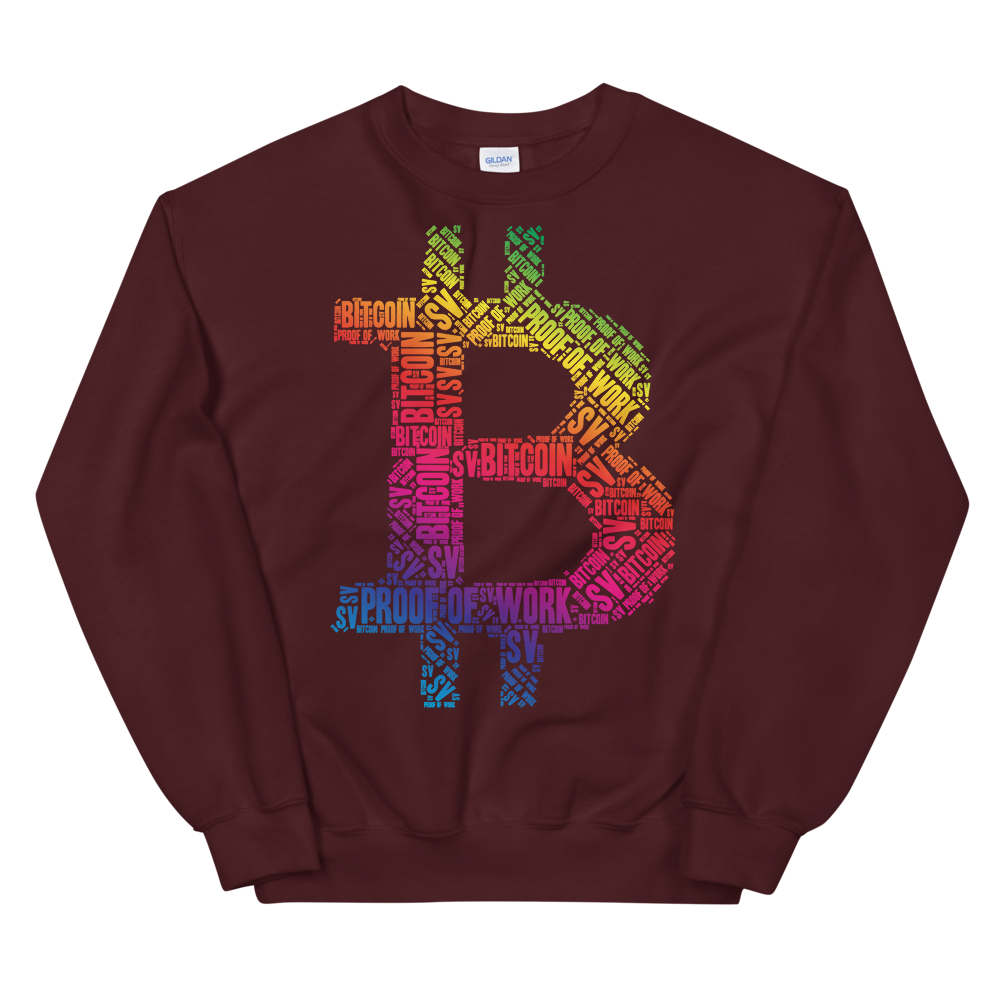 Bitcoin SV Proof Of Work Sweatshirt Maroon S - zeroconfs