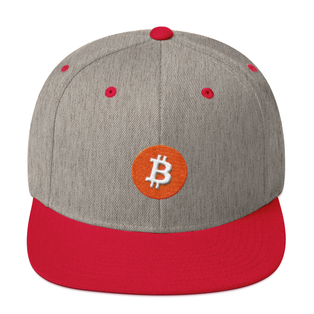Bitcoin Core Snapback Hat Heather Grey/ Red  - zeroconfs