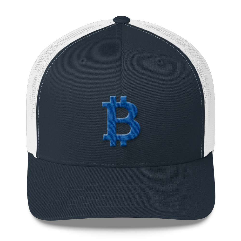 Bitcoin B Trucker Cap Blue Navy/ White  - zeroconfs