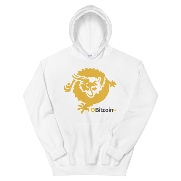 Bitcoin SV Dragon Hooded Sweatshirt White S - zeroconfs