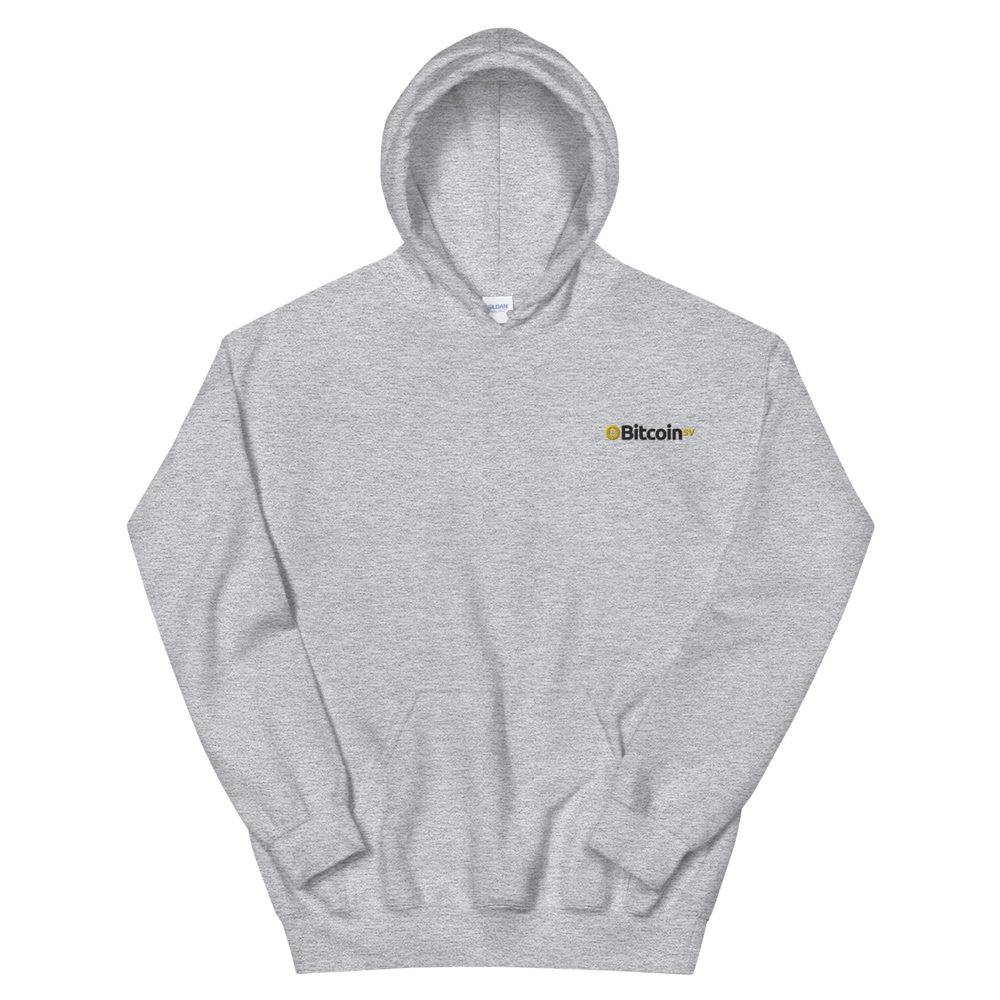Bitcoin SV Embroidered Hooded Sweatshirt Sport Grey S - zeroconfs