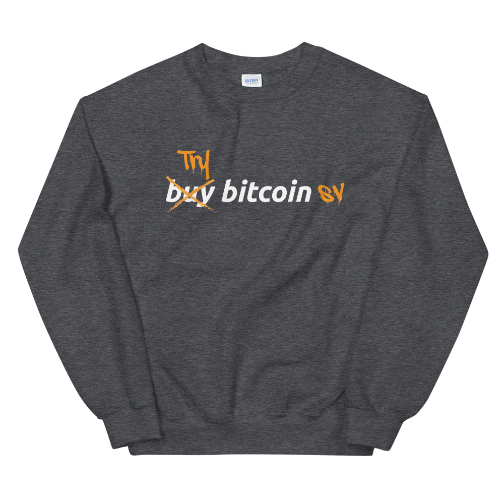 Try Bitcoin SV Sweatshirt Dark Heather S - zeroconfs