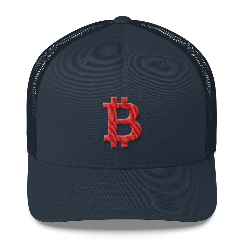 Bitcoin B Trucker Cap Red Navy  - zeroconfs