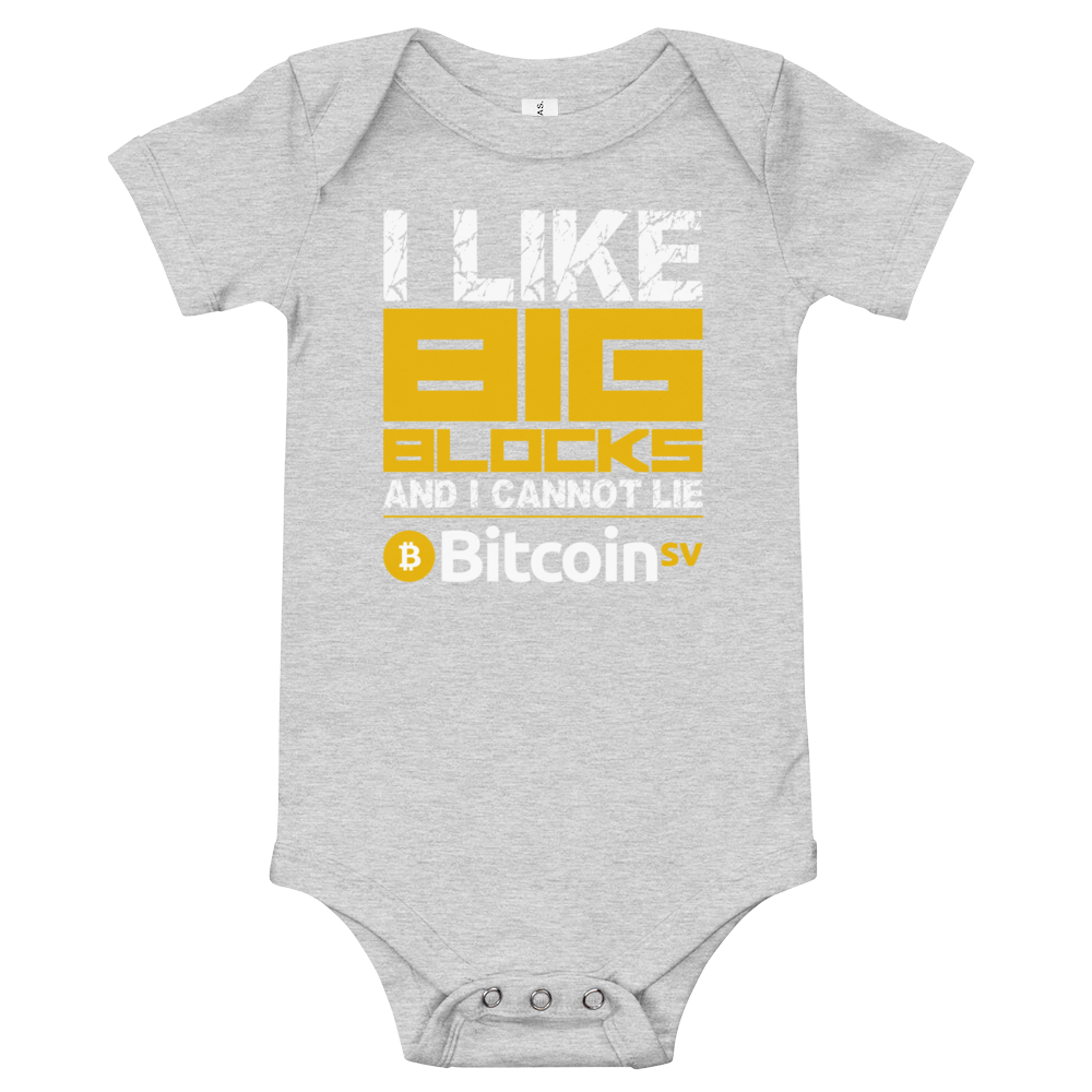 I Like Big Blocks Bitcoin SV Baby Bodysuit Athletic Heather 3-6m - zeroconfs