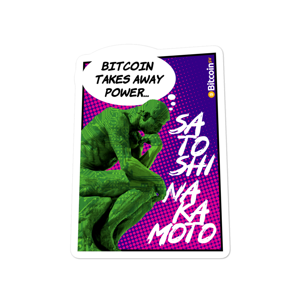 Bitcoin Takes Away Power Bubble-Free Vinyl Stickers 4x4  - zeroconfs