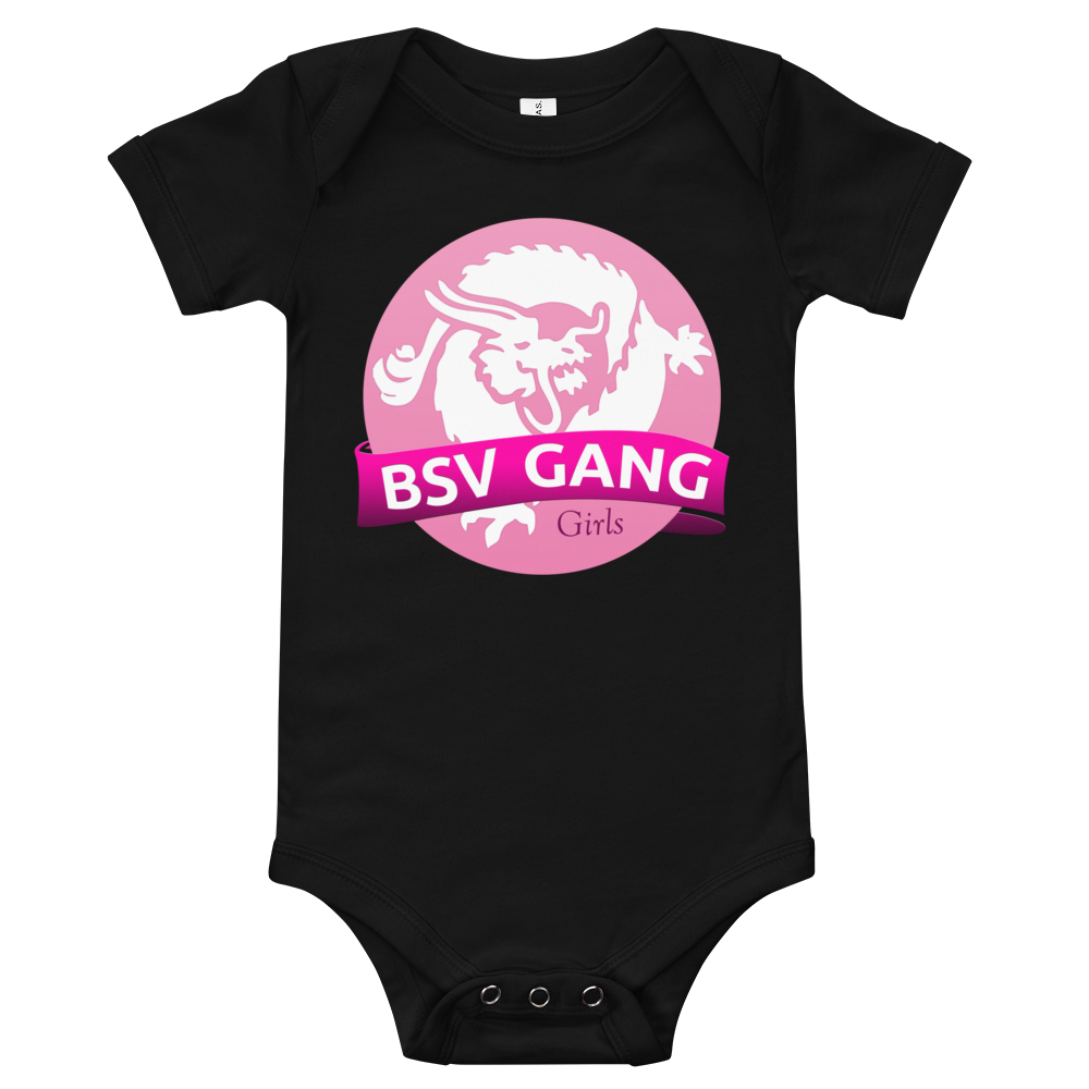 Bitcoin SV Gang Girls Baby Bodysuit Black 3-6m - zeroconfs